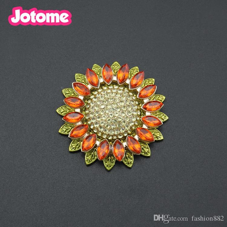 Toptan Düz Geri Altın Sesi ayçiçeği çiçek kadınlar için rhinestone kristal Pin Broş broşlar düğün buket için