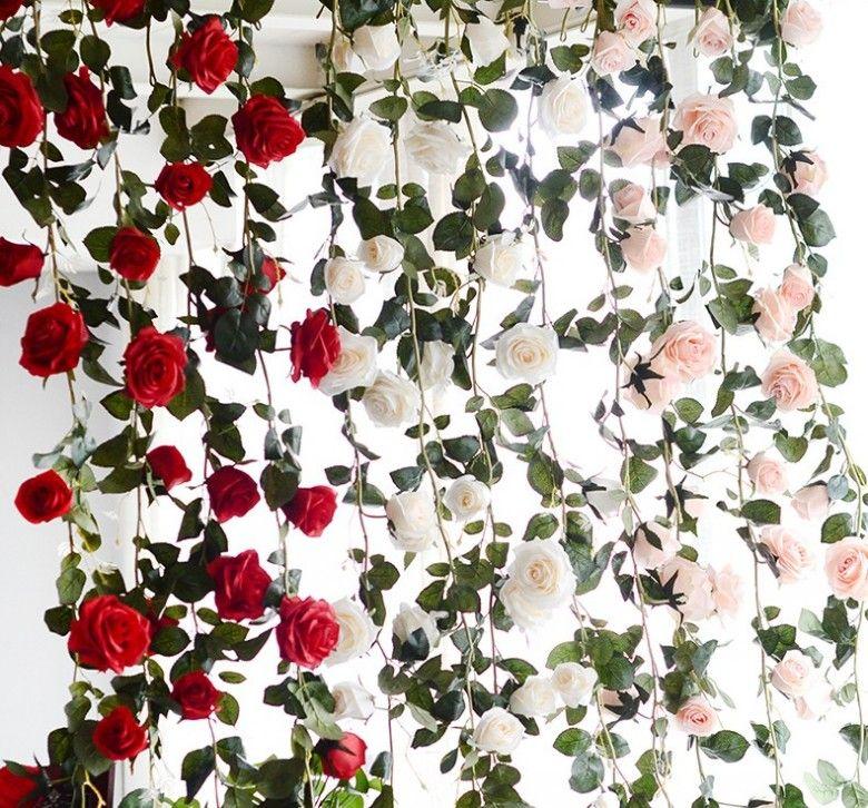긴 인공 장미 꽃 장식 가짜 장미 포도 나무 식물 예술 화환 꽃 웨딩 장식 벽 1.8 m 매달려