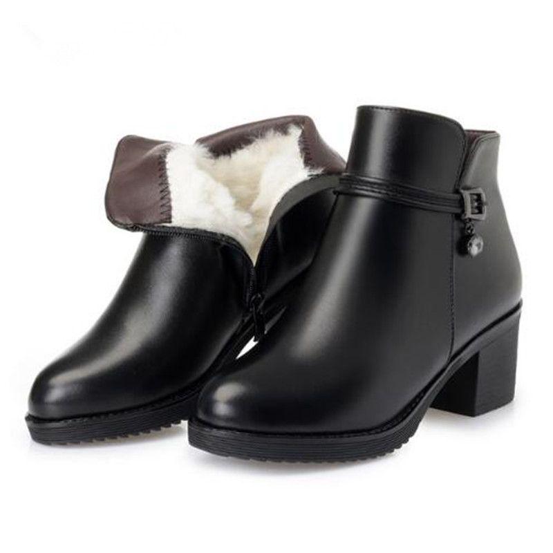 Sıcak Satış 2018 Yeni Kış Kar Botları Moda Deri Ayakkabı Kadın Çizmeler Rahat Yün Kadın Sıcak Ayakkabı Büyük Boy Martin Çizmeler