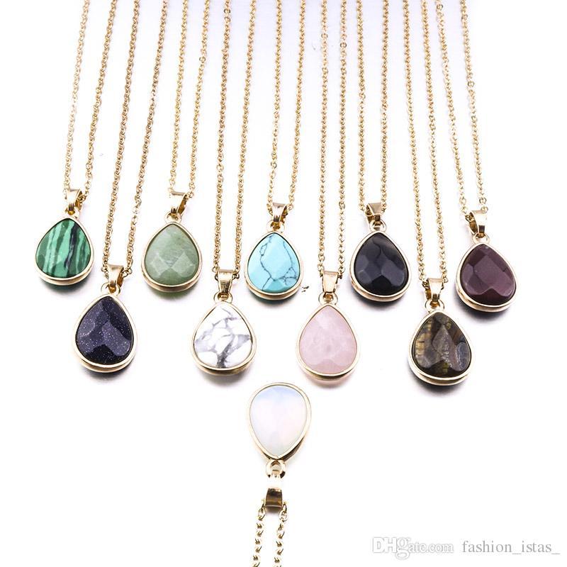 12 colores gota forma collar de piedra natural ópalo rosa cristal Druzy collar para mujer joyería
