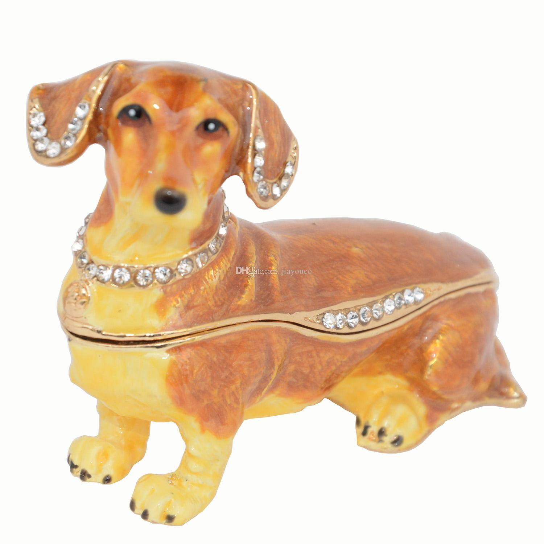 Dachshund dog trinket & jewelry box dog animals & figurines statues cute pet gifts