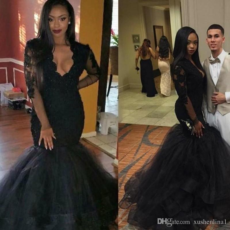 Plus Size Arabski Prom Dresses V-Neck Koronki Aplikacja Zroszony Syrenki Suknie Wieczorowe Sheer Z Długim Rękawem Afryki Czarne Dziewczyny Prom Party Suknie