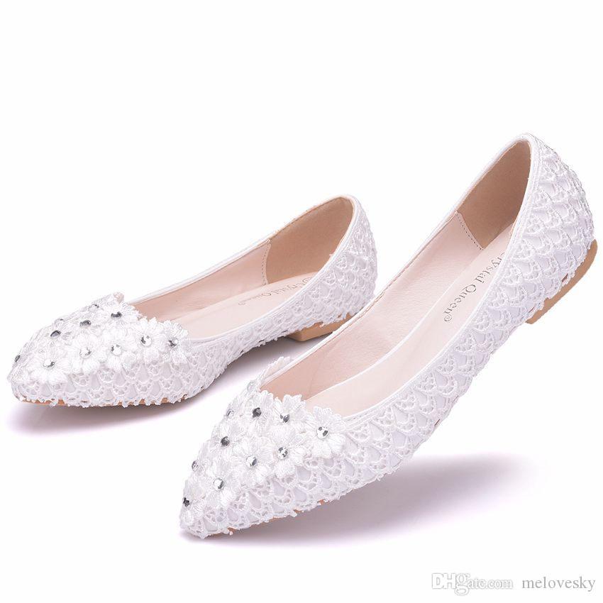 Neue Schöne Weiße Frauen Wohnungen Spitze Blumen Spitz Flache Strass Hochzeit Schuhe Plus Größe
