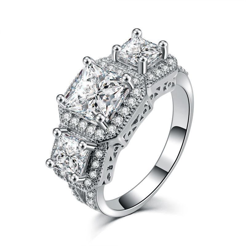 2020 Anello d'argento di colore principe taglio aggancio di cerimonia nuziale Jewelry Cubic Zirconia per il regalo donne AMORE anello di cristallo