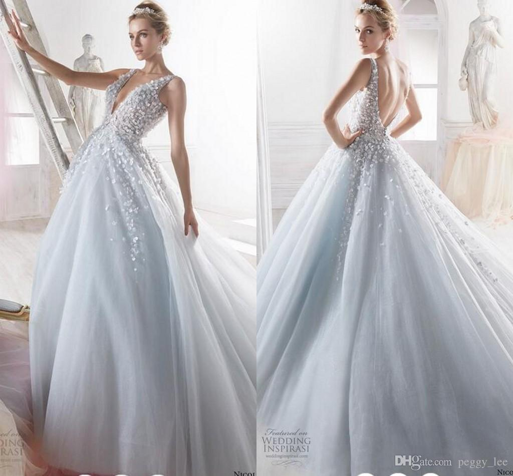best value 26561 1a73b Discount Nicole Spose Wedding Dresses 2018 Modest Fully 3D Floral Butterfly  Sky Blue V Neck Fairy Summer Holiday Dream Bridal Wedding Gown Cheap ...