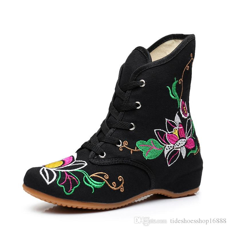 national wind Autumn Winter Boots Women Flower Embroider Ankle Boots Woman short Plush Shoes Fashion Warm Snow Boots bota feminina