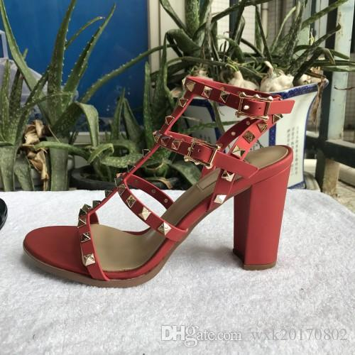 new 2018 new European women's rivets sandals with 9.5 cm high rivets fashion sandals 6 color sizes 35-41
