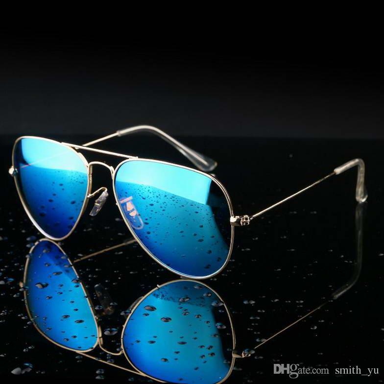 Mode Sonnenbrille Männer Frauen Pilot 58mm UV400 Klassische Spiegel Marke Designer Piloten Metallrahmen Brillen Fahren Sonnenbrille mit fällen