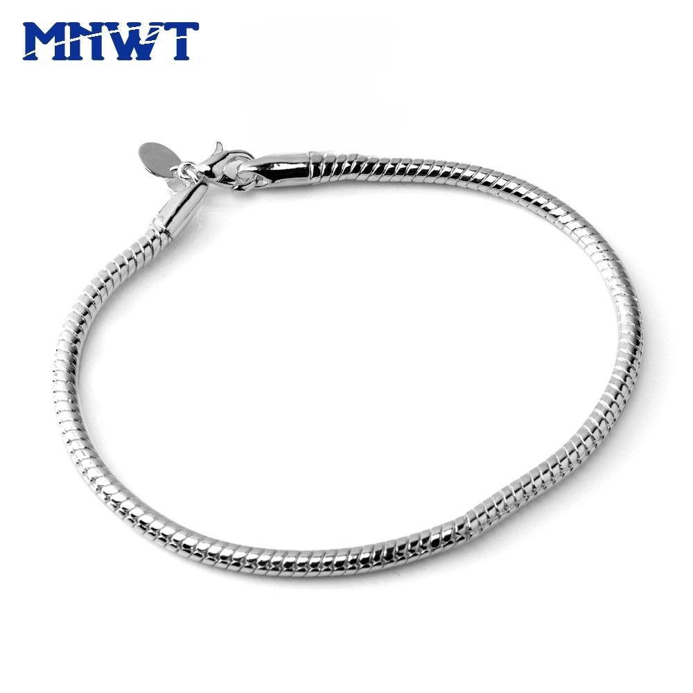 MNWT Frauen Schlange Knochen Silber Armbänder Hummer-Klaue-Spangen Schlangenkette Armband Modische Einfache Schmuck Pulseras