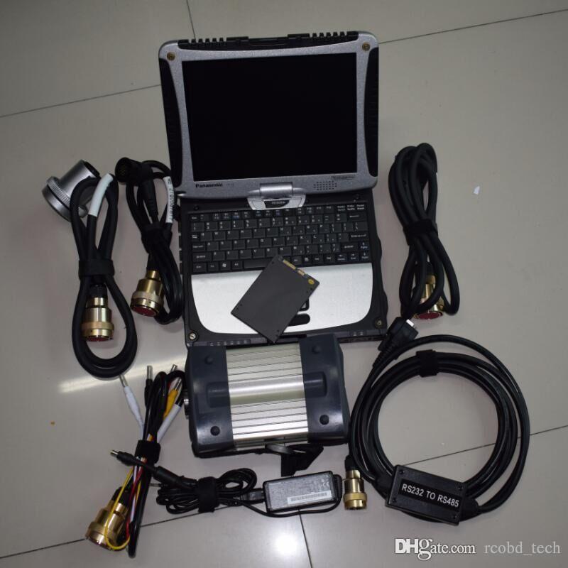 pour multiplexeur mb star c3 et câbles avec super ssd avec ordinateur portable cf19 ordinateur de diagnostic à écran tactile ensemble complet prêt à l'emploi