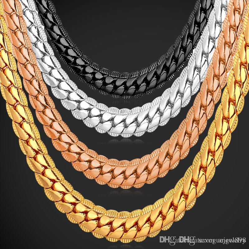 "18K Real Gold Plated Necklace With ""18K"" Stamp Men Jewelry Wholesale New Trendy Chunky Snake Chain Necklace 18''-26''"