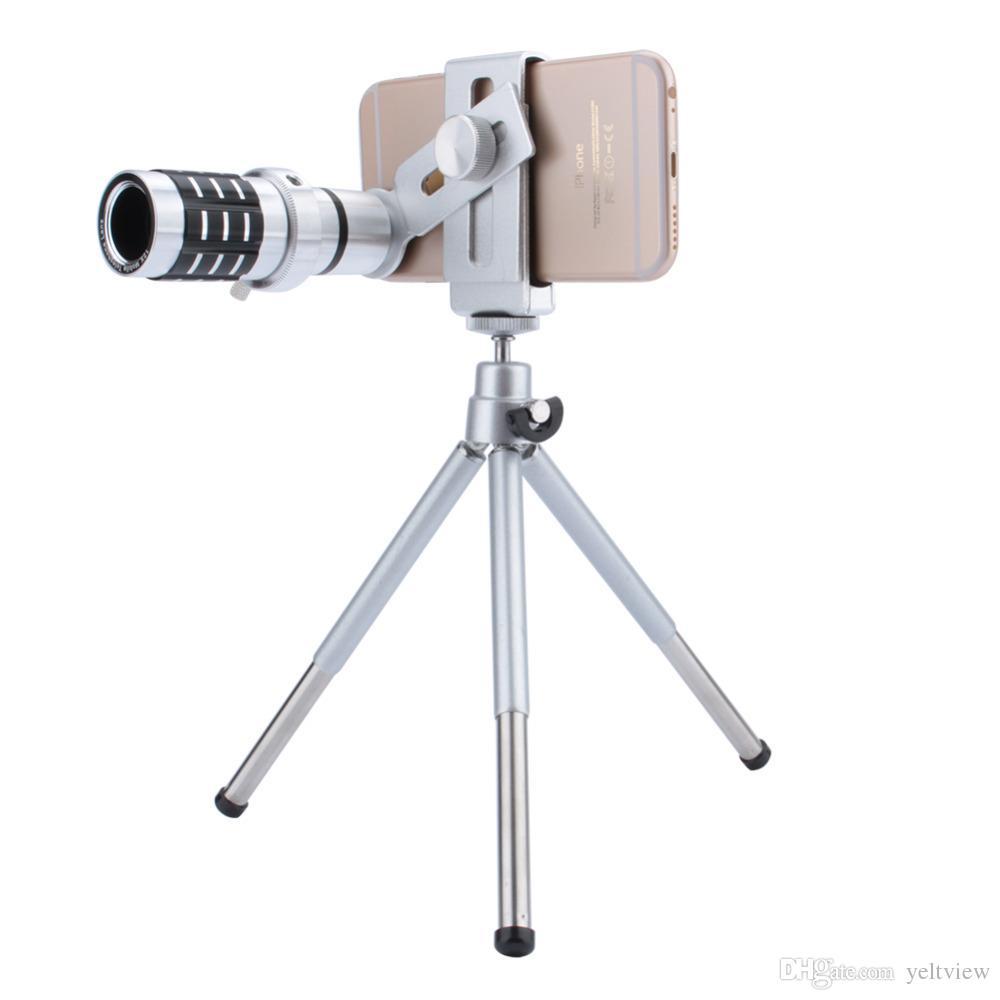 Telescopio Lente de la cámara 12X Zoom Teleobjetivo Lente óptica Cámara Telescopio Lente + Soporte para trípode para iPhone Samsung Todo el teléfono
