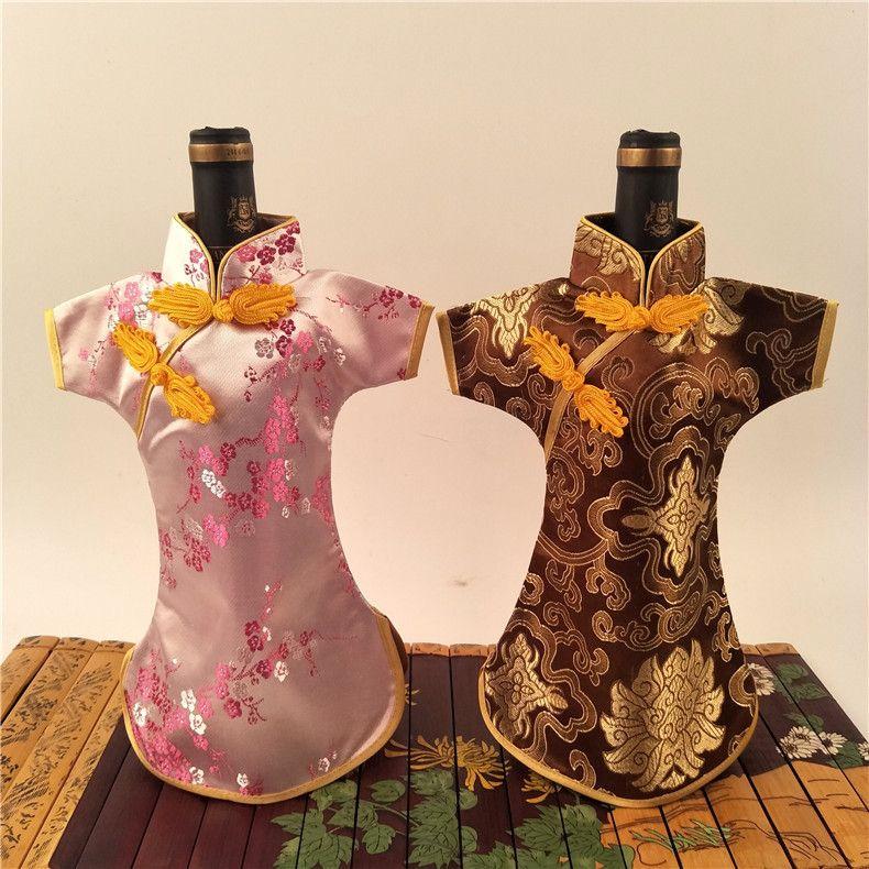 Chinesische Art Cheongsam Weihnachtsflaschen-Abdeckungs-Wein-Taschen-Tisch-Dekoration-Silk Brokat-Wein-Flaschen-Kleidung Großverkauf 50pcs / lot