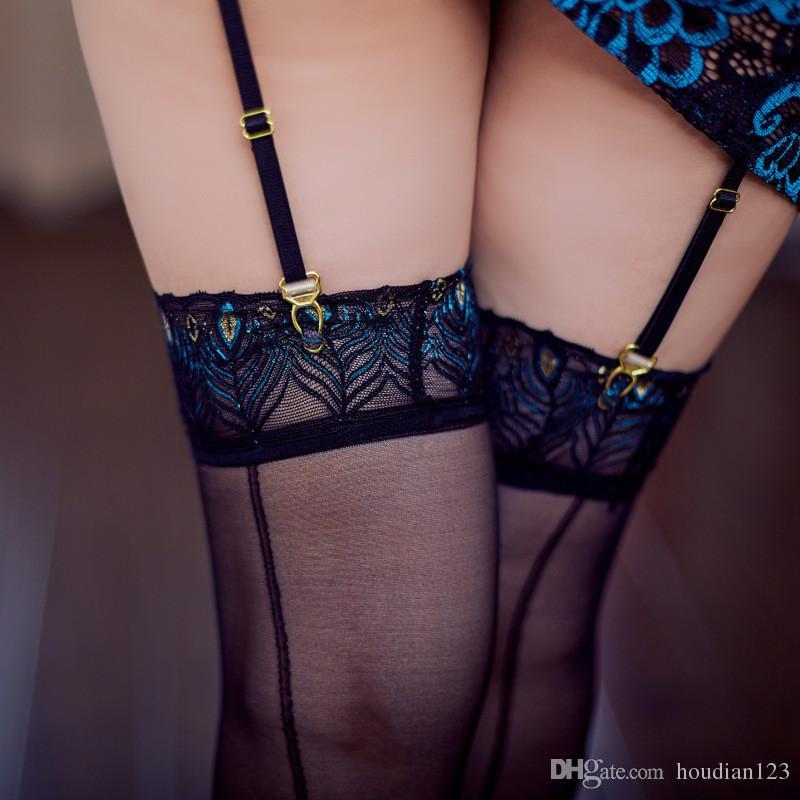 Plumes de paon transparentes ultra-minces bas sexy bas noirs tentation dames sous-vêtements sexy jouets sexuels pour adultes