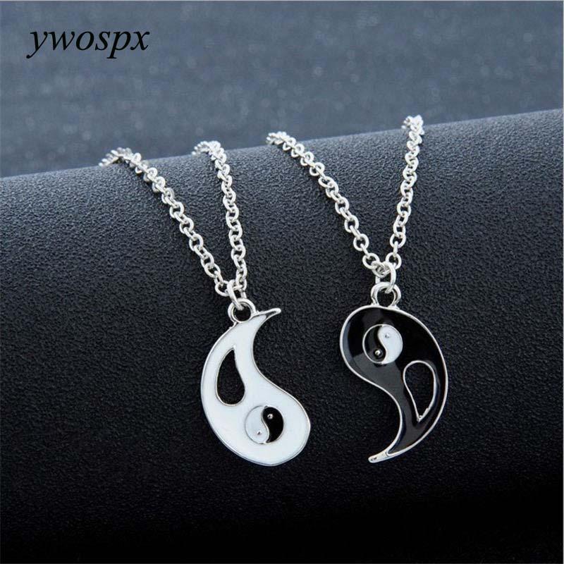 YWOSPX 1Pair Charm Lovers Collana Hot Yin Yang Collane Pendenti Nero Bianco Coppia Gioielli Regali Y40