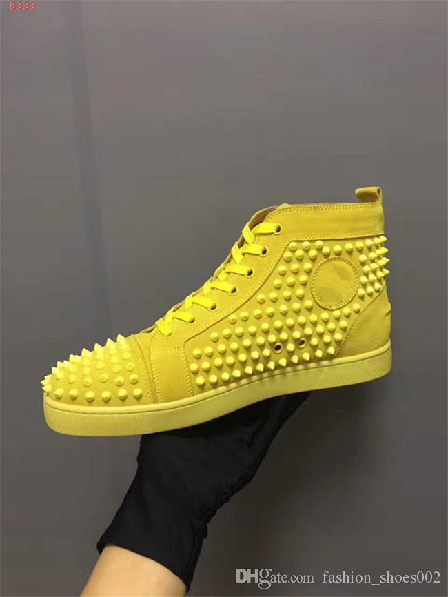 Männer Großhandel Rote Turnschuhe Freizeit Laufschuhe Luxus Spikes Von Gelb Mit Top Schuhe Herren Für Wildleder Lässig Schnüren Untere Mode AR5Lq43j