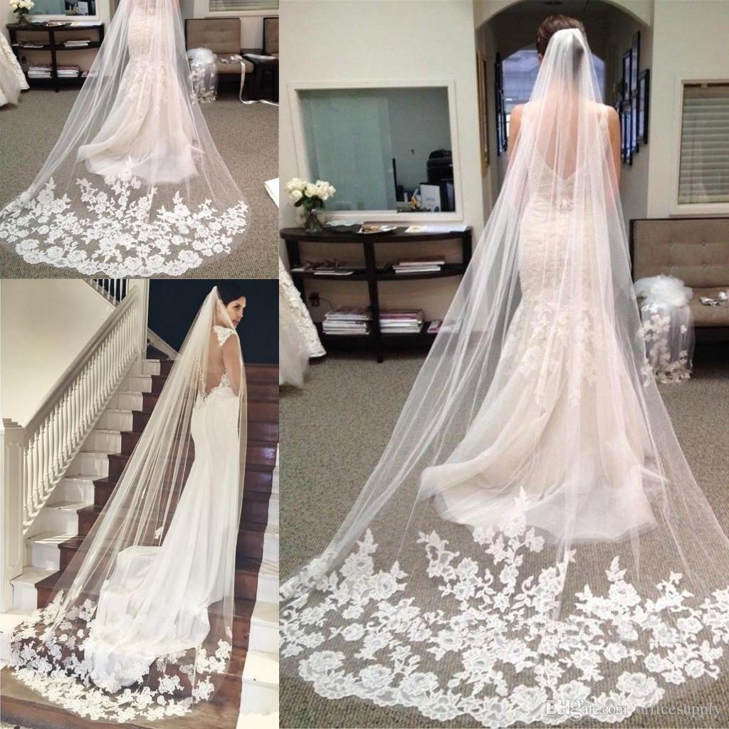 Barato em estoque Longa capela comprimento nupcial véu apliques veu de noiva longo véu do casamento rendas rendas com pente