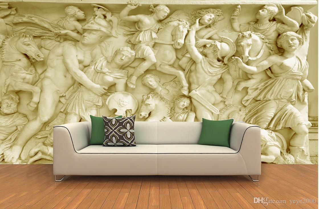 Floor wallpaper for kids room Roman figure sculpture sandstone ...