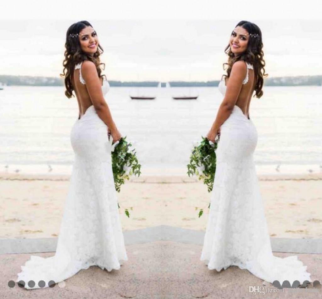 2018 Nuevo Katie Barato Mayo Vestidos de novia Bohemianos Novia Sexy Sirena Spaghetti Straps Longitud de piso sin respaldo Encaje completo Vestidos nupciales