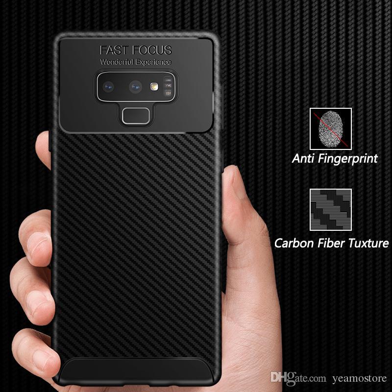 Buzlu Shied TPU Kılıf Samsung Galaxy Not için 9 S9 S9 artı Galaxy J4 J6 2018 Karbon Fiber Doku Anti Parmak Izi Silikon Kılıf