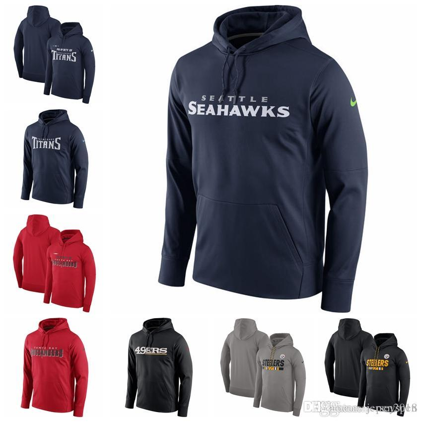 outlet store 3e5d9 6a254 2018 Tampa Bay Buccaneers Seattle Seahawks San Francisco 49ers Sideline  Team Performance Pullover Hoodie Sideline Property Of Wordmark Logo From ...