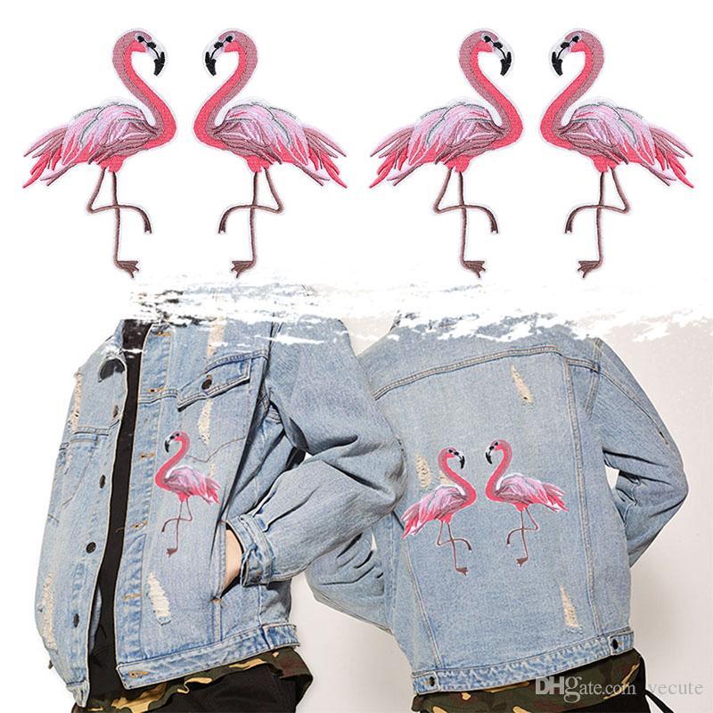 펑크 스타일 레드 플라밍고 Applique 자수 패치 의류에 대한 의류 봉제 다리미에 바느질 스티커 의류 장식 도매 가격