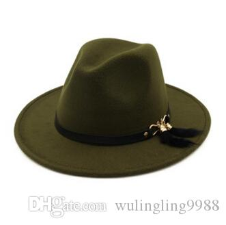 Nueva moda top gorras para hombres mujeres elegante moda sólido fieltro fedora sombrero banda ancha plana salsa jazz sombreros con estilo trilby panama gorras