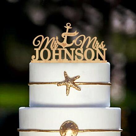 personalize engrave anchor nautical beach rustic Wedding wooden Cake Toppers Couple Bride and Groom engagement party decorations