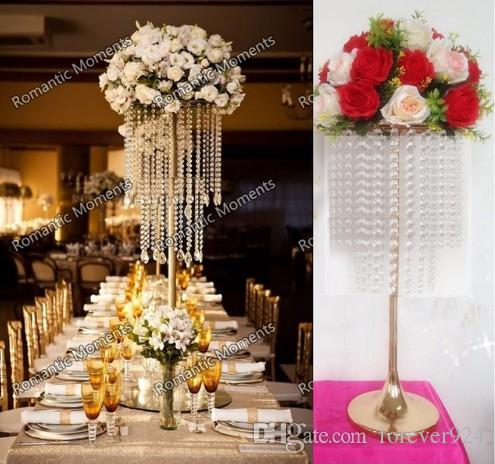 hot sell new Gorgeous table 5 Photos 70cm Tall crystal Flower Stand Wedding Centerpiece Table Chandelier decoration