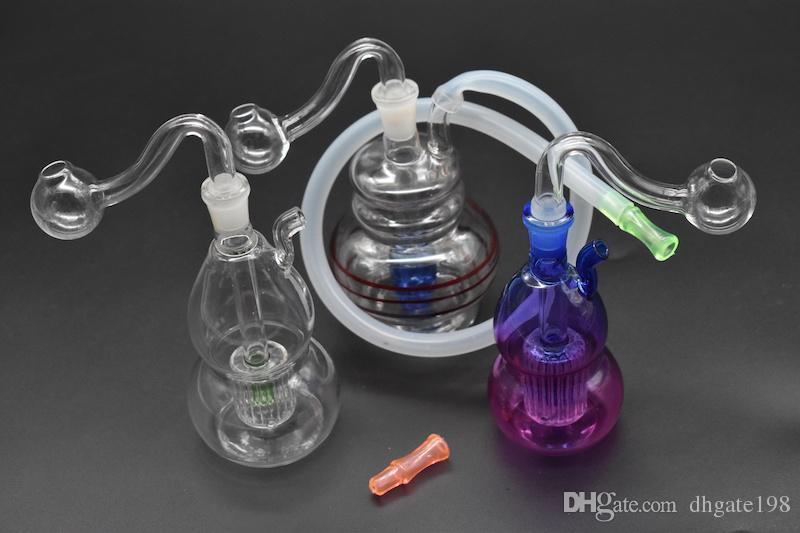 Bongos de vidro borbulhador de vidro barato borbulhadores de óleo mini para fumar com acessórios de mangueira de silicone cinzas coletor de fumar cachimbo de água bongo de óleo heady bong