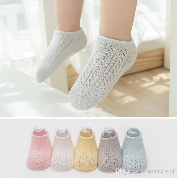 Summer Baby Short Ankle Socks Mesh Thin Cotton Unisex Solid Color Hollow Toddler