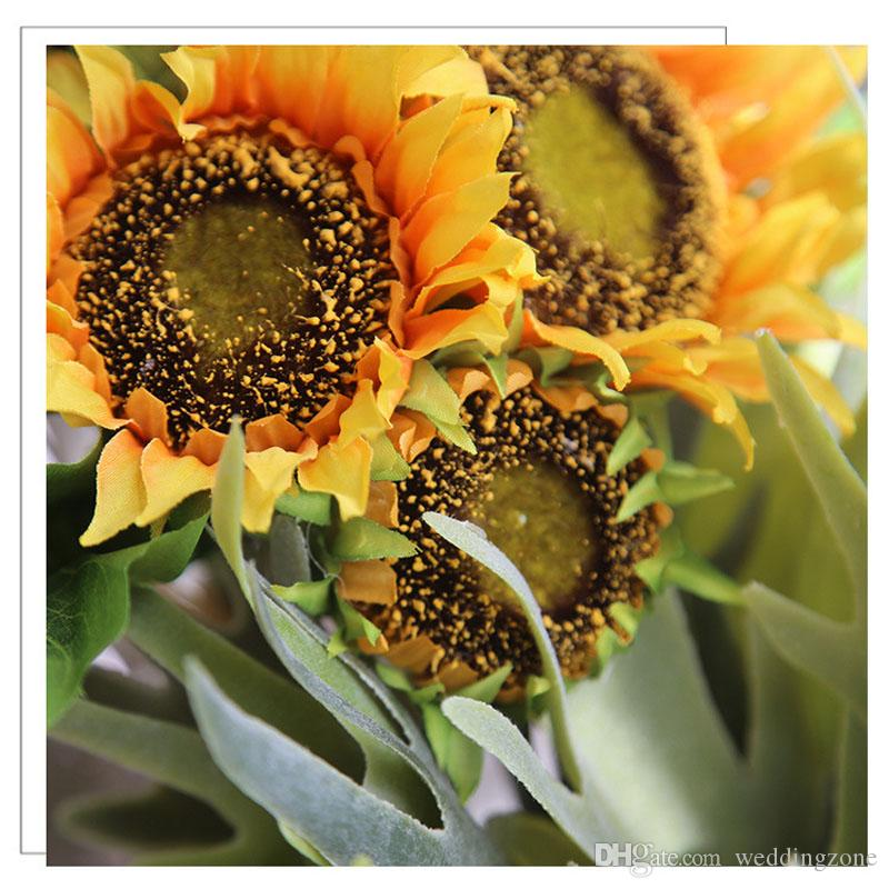 Silk Sunflower 35cm 7Heads Artificial Bridal Flowers Bouquet Pan Cloth For Wedding/Party/Home Decorations MW22101