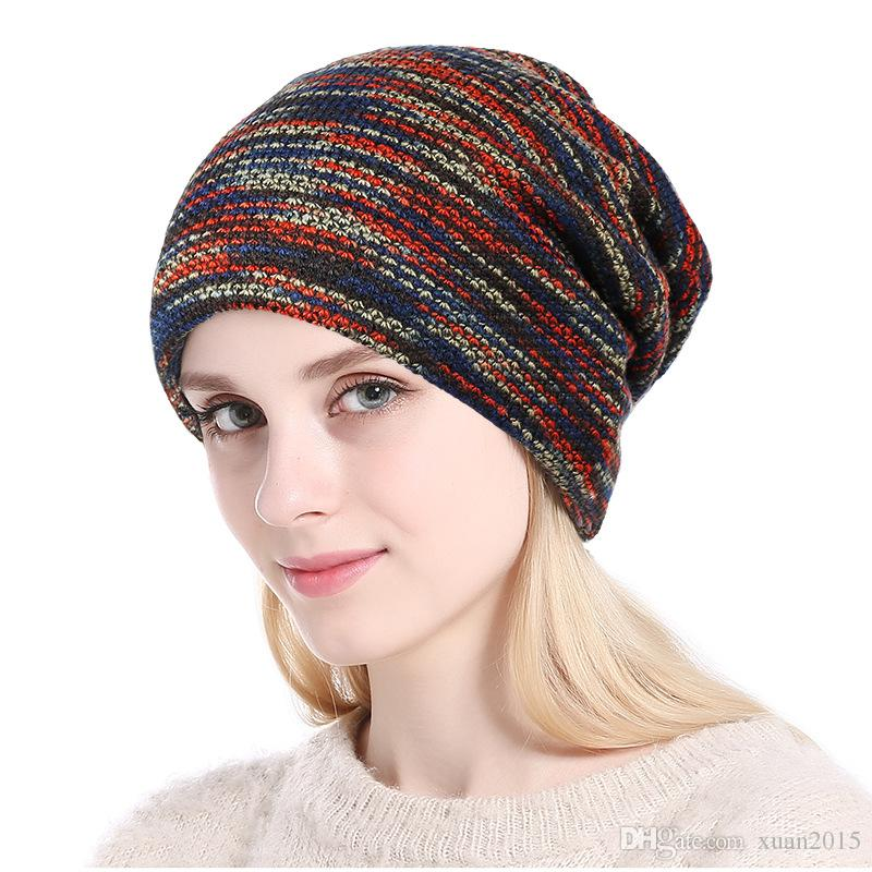 2018 Grey Blue Red Crochet Knit Cap Skullies Beanies Warm Caps Female Knitted Stylish Hat Ladies Fashion