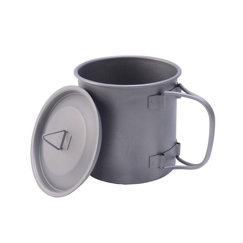 Bicchiere da 0,75L in titanio per esterno Tazza per tazza di acqua in titanio con coperchio e maniglia pieghevole Pentola da campeggio Pentole da picnic