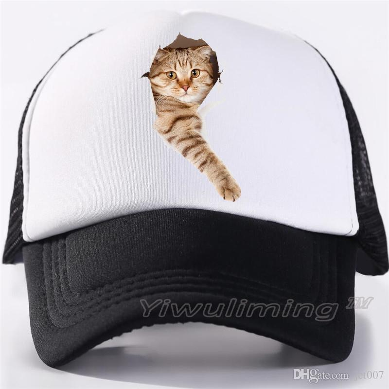 Adult Mesh Caps Hats Adjustable for Men Women Unisex,Print Cute Cat