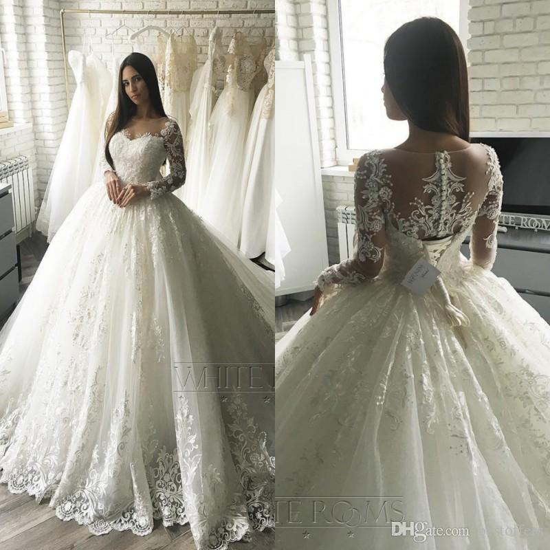 2019 Luxury Lace Applique Long Sleeves Princess Wedding Dresses Court Train Elegant Dubai Arabic Muslim Ball Gown Bridal Gowns Cheap