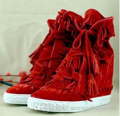 Compre Zapatos De Marca Para Mujer Botines De Cuña Punta Redonda Tacones De Altura Creciente Flecos De Gamuza Botas Cortos De Calidad Superior Zapatos