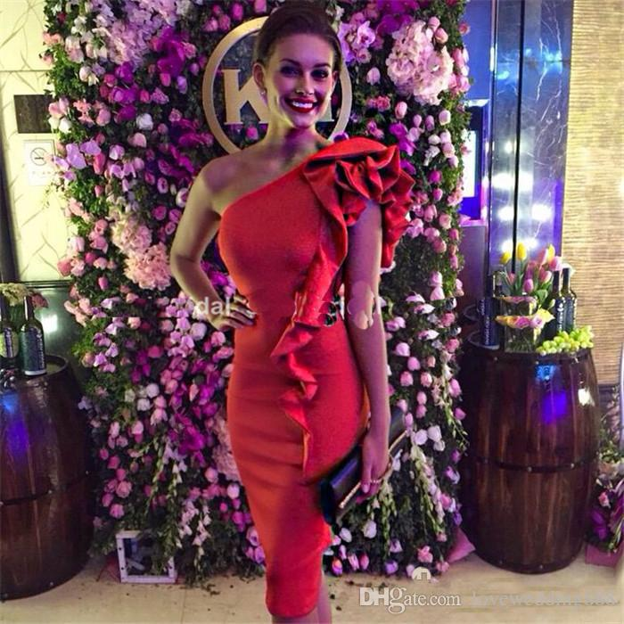 2017 Unique Designer Red Sheath Knee Length Cocktail Dresses One Shoulder Bodycon Short Evening Party Gowns Formal Para Gala