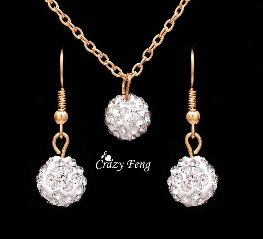 Free shipping New Fashion women Jewelry Sets Rhinestone ball Necklace Earrings Dangle Pendants Gold Color Crystal Party gift