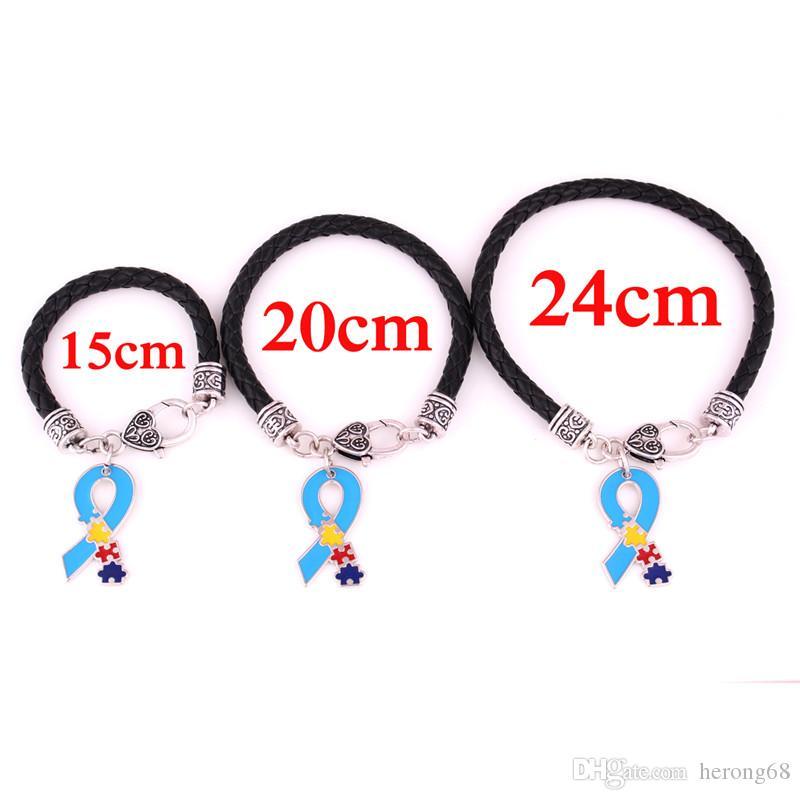 Hot Sale In 2018 Unisex Bracelet Ribbon Shape Autism Style Jigsaw Puzzle Pattern Beautiful Enamel Zinc Alloy Provide Dropshipping