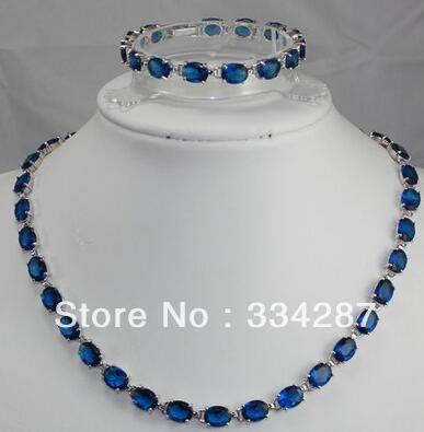noblest 7*9mm blue zircon bead 18KGP necklace bracelet set