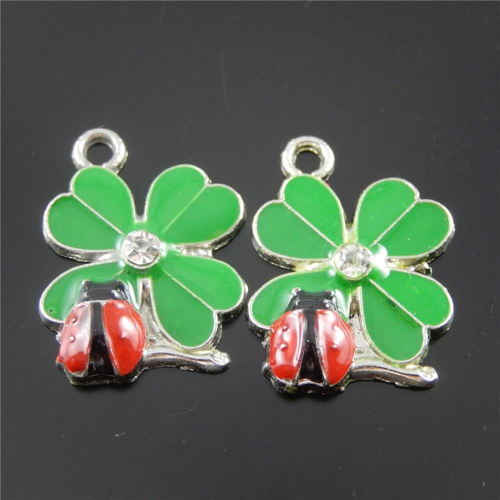 Cute 5Pieces Mixed Enamels Red Ladybug Charms Fit Bracelet Accessories Women Green Leaf charms Animal pendants jewelry making