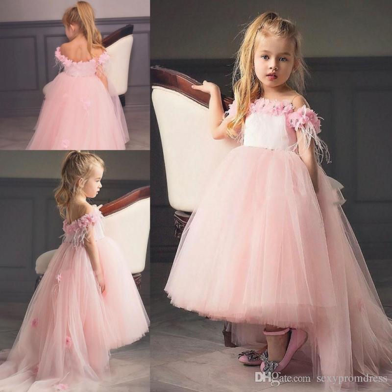 Rosa alta baja princesa vestidos de niña de las flores para la boda fuera del hombro Flora apliques Tulle Sweep Train niñas vestidos del desfile bebé ropa formal