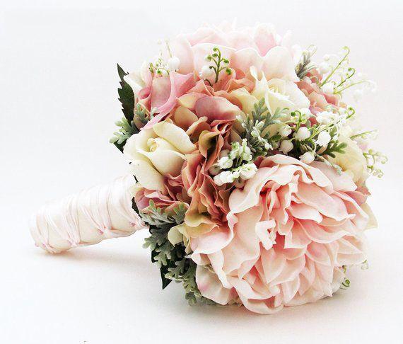 밸리 모란 장미 수국 핑크 화이트의 신부 또는 신부 들러리 웨딩 꽃다발 릴리 - 신랑의 Boutonnieret, 웨딩 액세서리 추가