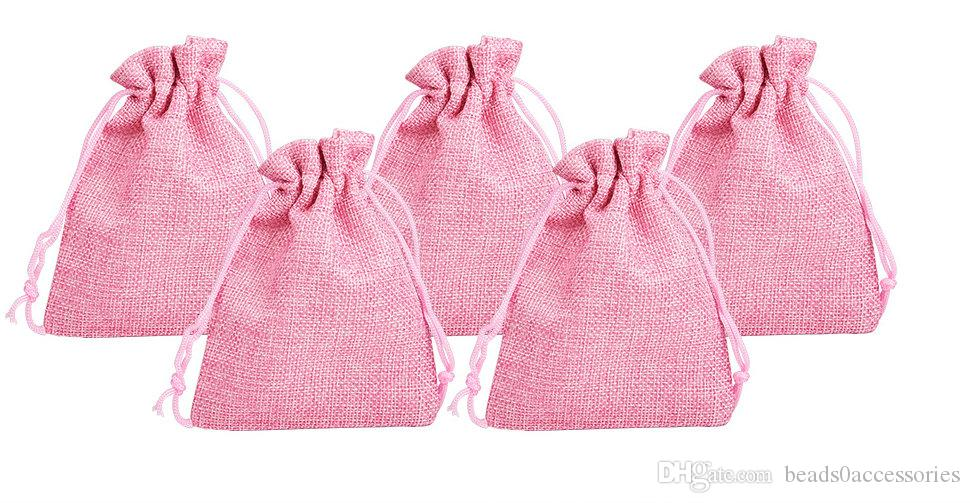 LT PINK 7x9cm 9x12cm Mini Pouch Jute Bag Linen Hemp Jewelry Gift Pouch drawstring Bags For Wedding favors,beads
