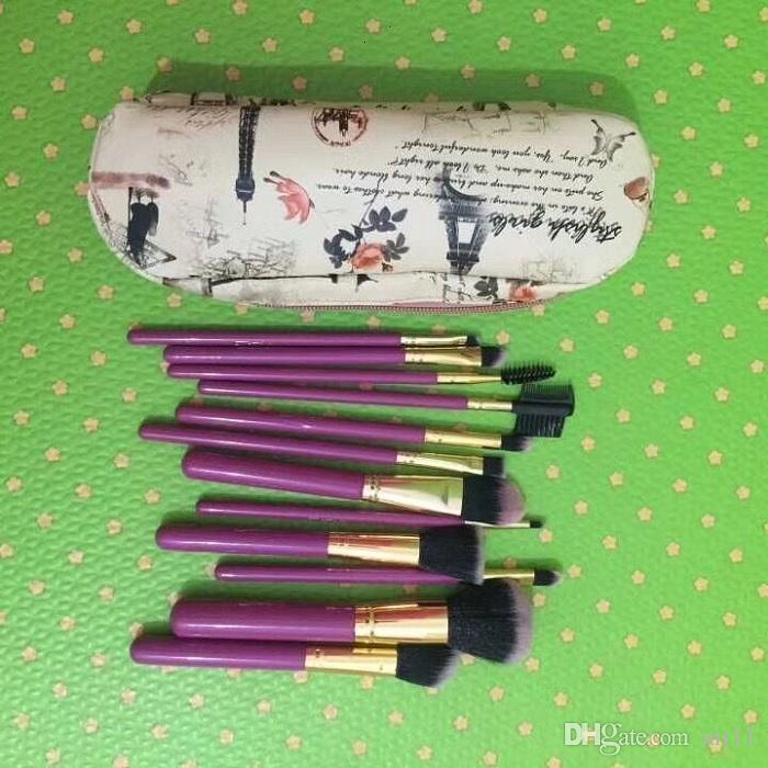 10 مجموعة HOT NEW Makeup Professional M Brushes Brush 12 قطعة + حقيبة جلد الخوخ / أسود في الأوراق المالية
