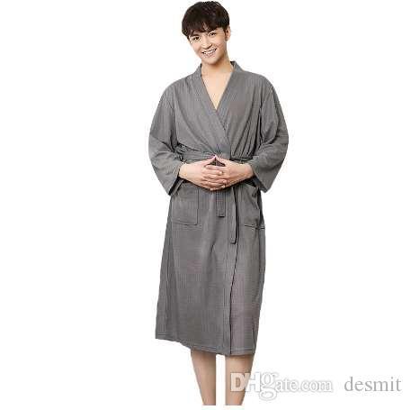 New Men Robe Spa Home Dress Chinese Cotton Nightwear Solid Sleepwear Male Nightgown Kimono Bathrobe Gown Plus Size M XL XXXL