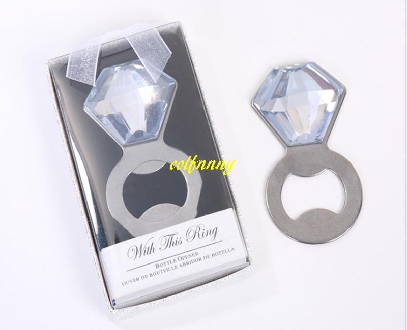 50 unids / lote anillo de diamante cristal abrebotellas para favor de la boda favorecer con caja de regalo elegante despedida de soltera favor
