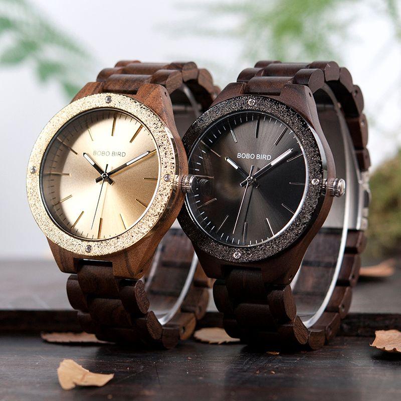 Bobo Bird P05 Moda Drewniane zegarki Materiał Wysokiej Quanlity Relogio Masculino Custom Logo w pudełku