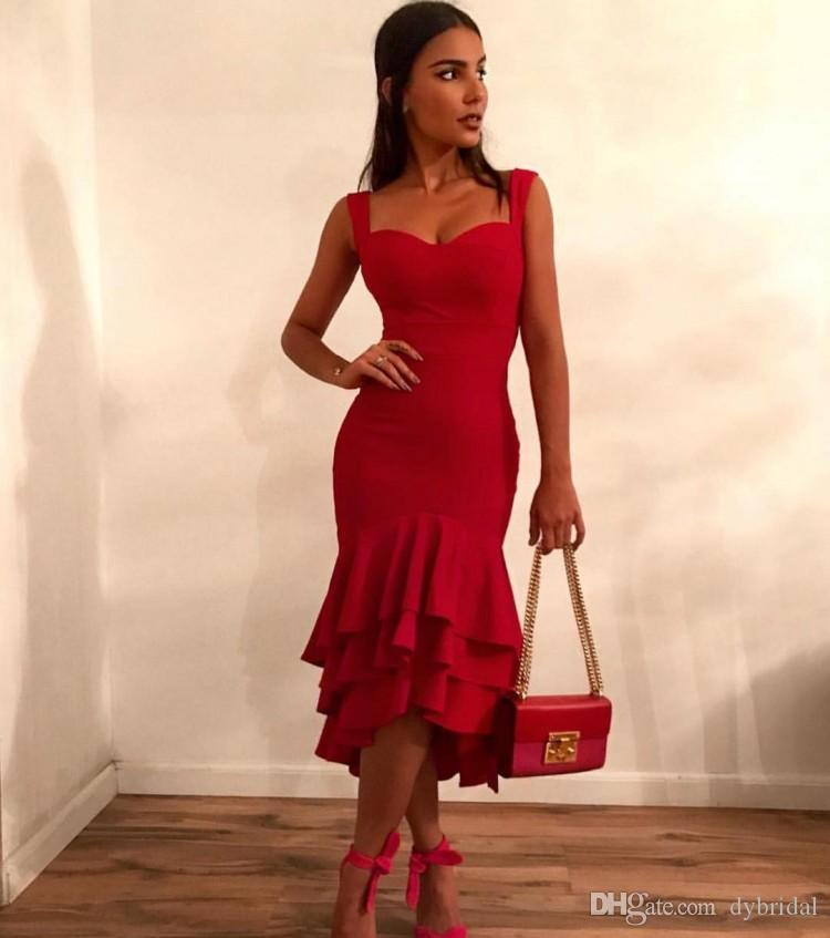 2018 sexy cheap plus size short prom dresses vestidos de fiesta party formal evening gowns red prom dresses mermaid